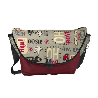 Main Mickey Shorts | Phrase Icon Pattern Messenger Bag
