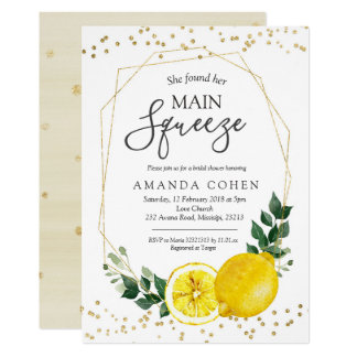 Main squeeze lemon bridal shower invitation
