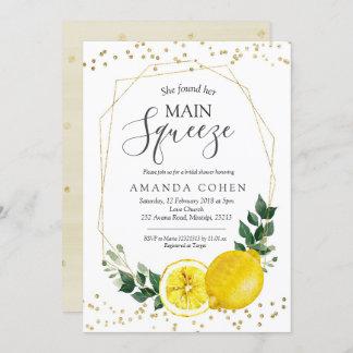 Main squeeze lemon bridal shower invitation