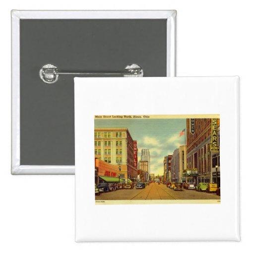 Main St., Akron, Ohio Vintage Button
