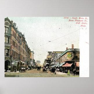 Main St., Fall River, Massachusetts 1908 Vintage Poster