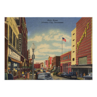Main St., Johnson City, Tennessee Vintage Poster