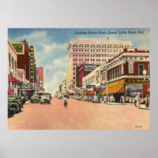 Main St., Little Rock, Arkansas Vintage Poster