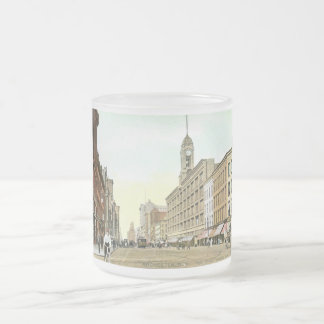 Main St., Rochester, New York Vintage 10 Oz Frosted Glass Coffee Mug