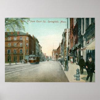 Main St., Springfield, MA Vintage Print