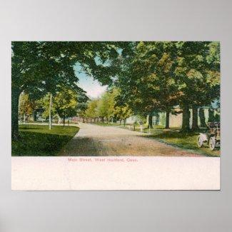 Main St., W. Hartford CT Vintage print