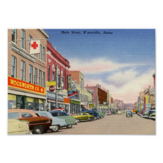 Main St. Waterville, Maine Vintage Poster