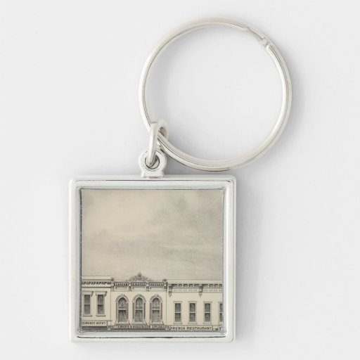 Main St Woodland 2 Silver-Colored Square Keychain