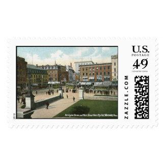 Main St., Worcester, MA 1910 Vintage Stamp