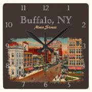 Main Street - Buffalo, NY Custom Square Wall Clock