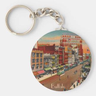 Main Street - Buffalo, NY Vintage Basic Round Button Keychain