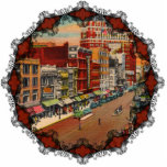 "Main Street - Buffalo, NY Vintage Ornament<br><div class=""desc"">Vintage postcard showing Main Street in Buffalo,  New York in 1940 in stunning and vibrant colors. Reprinted on this beautiful Christmas ornament with Victorian filagree trim.</div>"