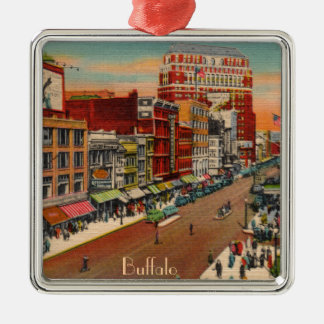 Main Street - Buffalo, NY Vintage Square Metal Christmas Ornament