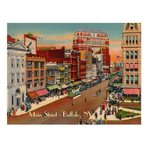 Main Street - Buffalo, NY Vintage Postcard
