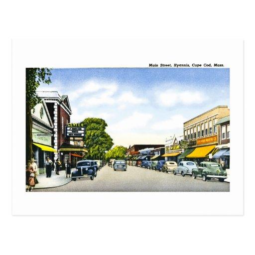 Main Street, Hyannis, Cape Cod, Massachusetts Postcard