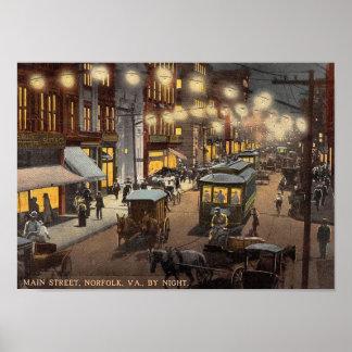 Main Street, Norfolk, Virginia Vintage Poster