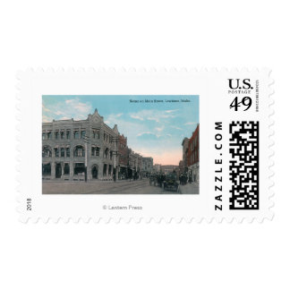 Main Street Scene with Horse Carriages and Postage Stamp