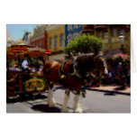 Main Street Trolley pastel drawing Stationery Note Card