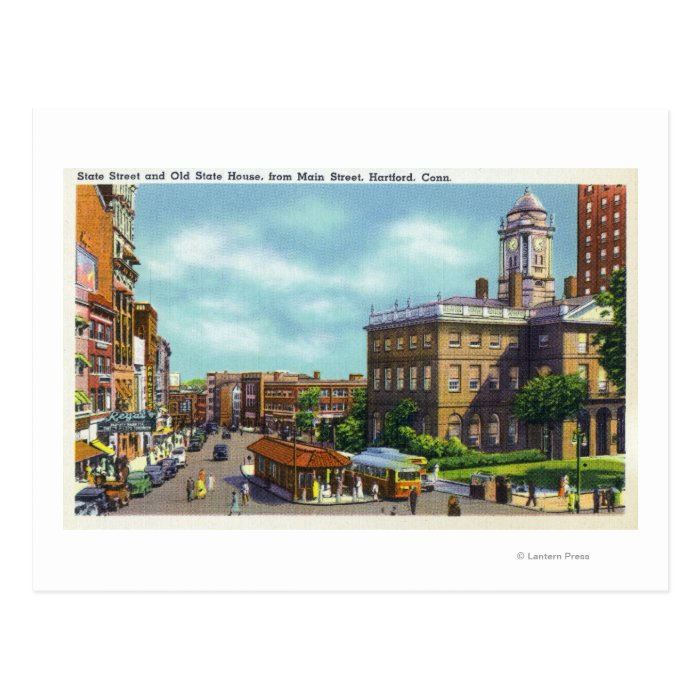 Main Street View of State Street & Old State Postcard