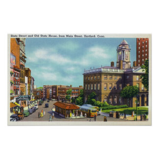 Main Street View of State Street & Old State Poster