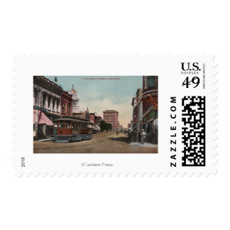 Main Street View with Street Car Postage