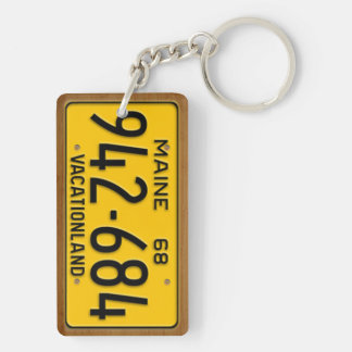Maine 1968 Vintage License Plate Keychain Rectangle Acrylic Key Chains