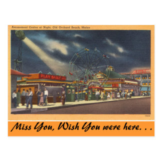 Maine, Amusements, Old Orchard Beach, Night view Postcard