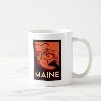 Maine art deco retro travel poster classic white coffee mug