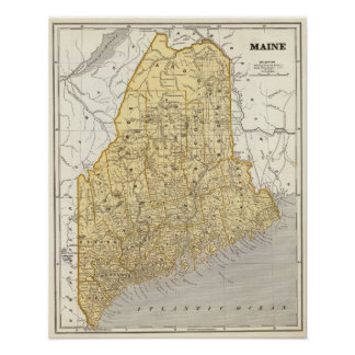 Maine Atlas Map Poster