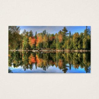 Maine Autumn Fall Foliage Lake Reflections Business Card