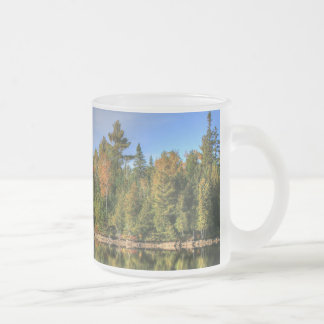 Maine Autumn Fall Foliage Lake Reflections Frosted Glass Coffee Mug