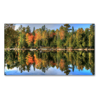 Maine Autumn Fall Foliage Lake Reflections Magnetic Business Card