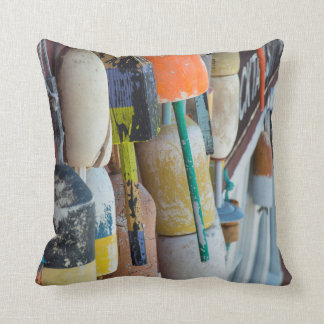 Maine, Bar Harbor. Colorful lobster trap buoys Throw Pillow