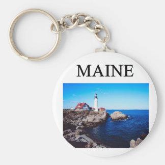maine! basic round button keychain