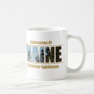 Maine Bass Harbor Lighthouse Image Text Coffee Mugs