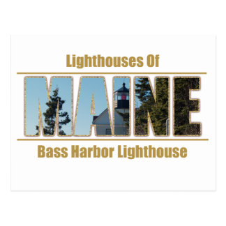 Maine Bass Harbor Lighthouse Image Text Postcard