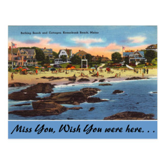 Maine, Beach & Cottages, Kennebunk Beach Postcard