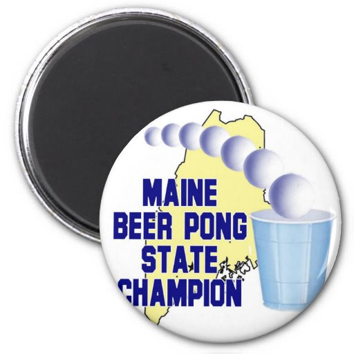 Maine Beer Pong Champion 2 Inch Round Magnet