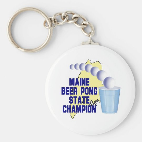 Maine Beer Pong Champion Keychain