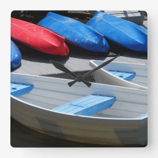 Maine Boats Square Wall Clock