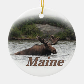 Maine Bull Moose Double-Sided Ceramic Round Christmas Ornament