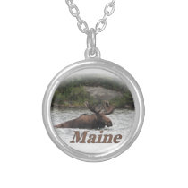 Maine Bull Moose Silver Plated Necklace