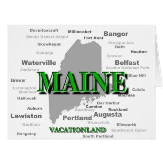 Maine Cities And Towns State Pride Map Card
