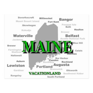 Maine Cities And Towns State Pride Map Postcard