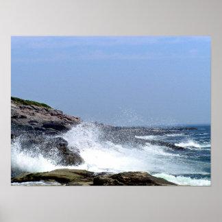Maine Coast Crashing Wave Poster