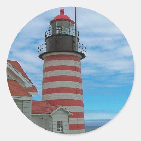 Maine Coast Lighthouse Classic Round Sticker