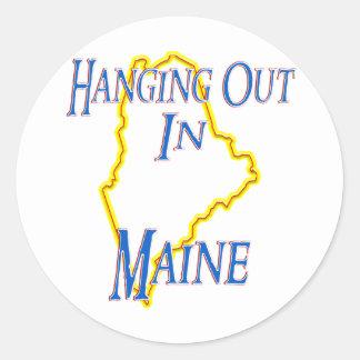 Maine - colgando hacia fuera etiqueta redonda