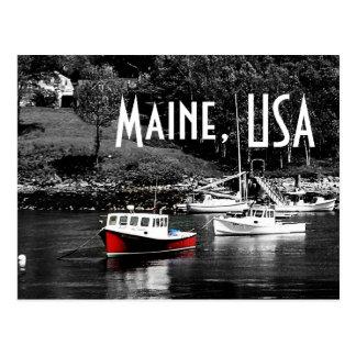 Maine Color On Black Boat Postcard