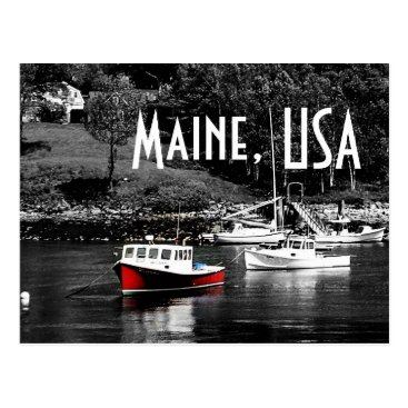 USA Themed Maine Color On Black Boat Postcard