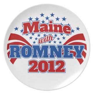 Maine con Romney 2012 Plato Para Fiesta